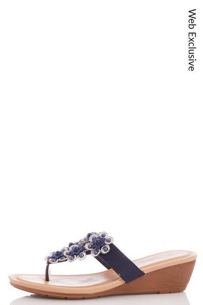 Comfort Navy Flower Detail Mid Wedges